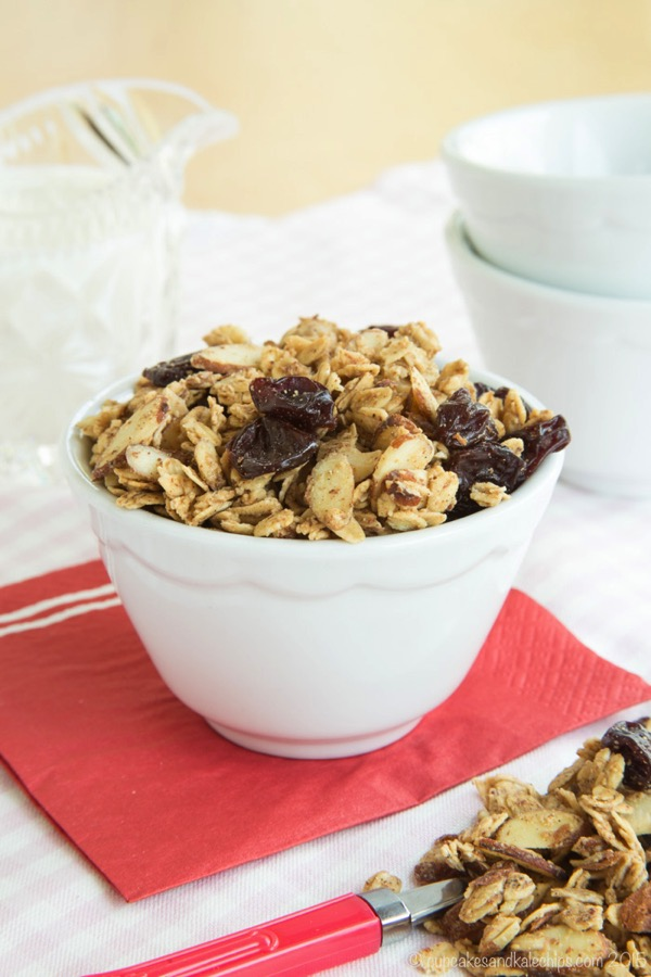 Cherry Vanilla Almond Granola from Cupcakes & Kale Chips - Part of a healthy almond recipe collection on ItsYummi.com