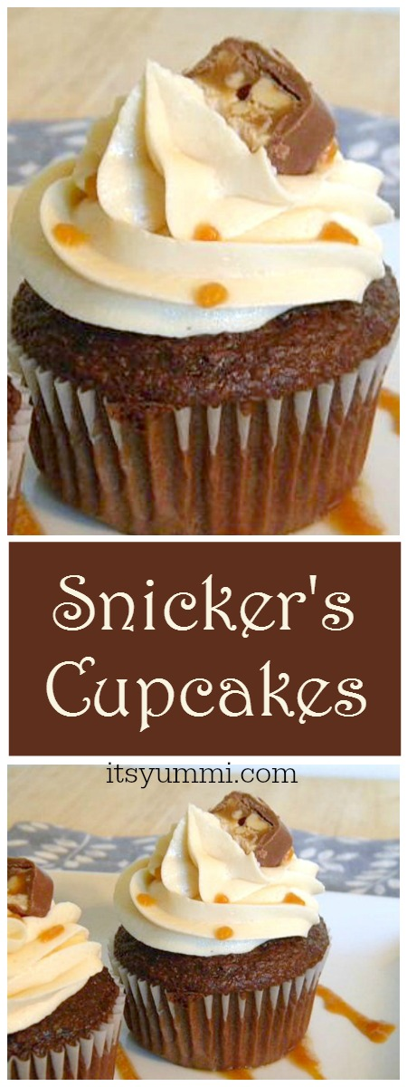 Deep chocolate cupcakes are stuffed with caramel and Snicker's candy bars, making this Snicker's cupcake recipe one of the most indulgent cupcake recipes you'll ever eat! | itsyummi.com