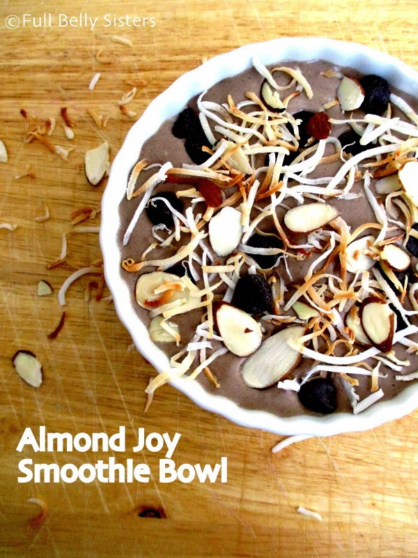 Almond Joy Smoothie Bowl from Full Belly Sisters - Part of a healthy almond recipes collection on ItsYummi.com