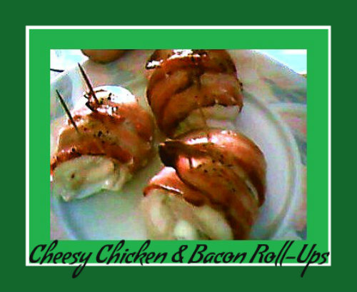 bacon wrapped chicken breasts stuffed with cream cheese - titled image