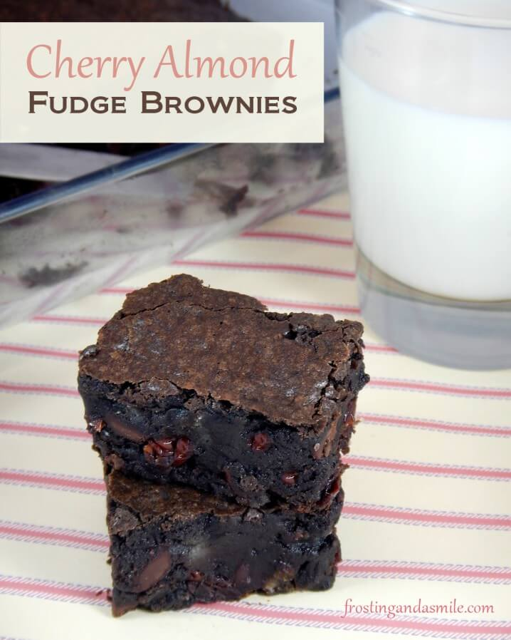 Cherry Almond Fudge Brownies from Frosting and a Smile - Part of a healthy almond recipes collection on ItsYummi.com