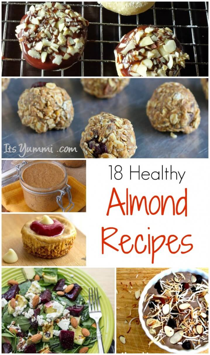 18 Delicious and Healthy Almond Recipes - Beverages, main dishes, salads and desserts. Some are low carb, keto, and gluten free, too! See the entire collection on ItsYummi.com