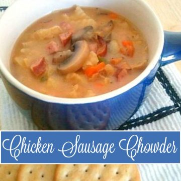 Chicken Sausage Chowder Recipe - The perfect Fall comfort food and a great way to use leftovers from the fridge. Lean chicken sausage, tender potatoes, and fresh vegetables make this a hearty dinner, too. Get the recipe at It'sYummi.com