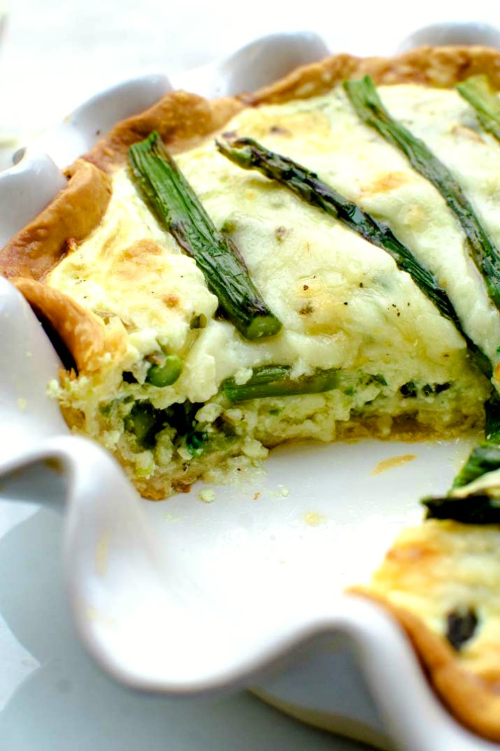 side view of vegetarian quiche with asparagus