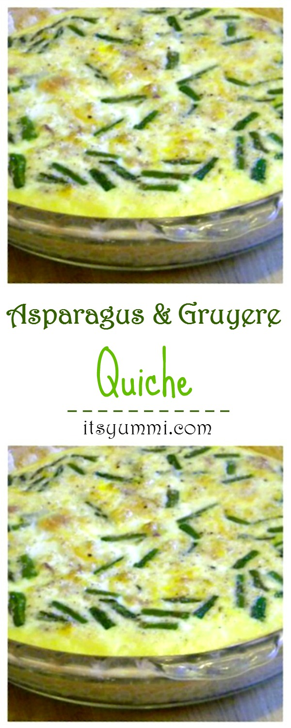Easy Quiche Recipe - This asparagus quiche is made with Gruyere cheese and sweet onions for the perfect meatless brunch or breakfast or vegetarian dinner recipe. Get the recipe from @itsyummi