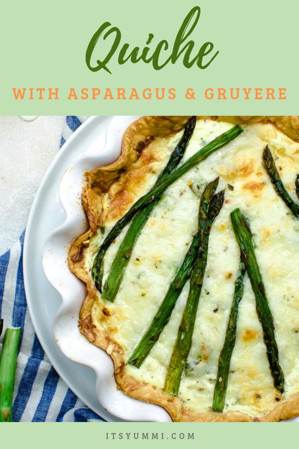 titled photo (and shown): Vegetarian Quiche Recipe with Asparagus and Gruyere