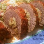 Beef Braciole - A classic Italian dish of stuffed flank steak. Perfect for a Sunday dinner, special occasion, or a holiday meal. Get the recipe from ItsYummi.com