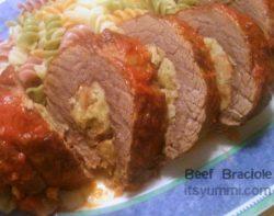 Italian beef braciole served over pasta