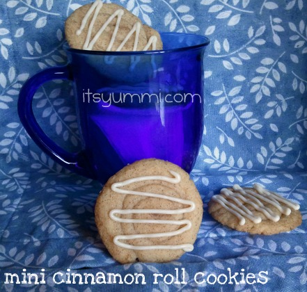 Mini cinnamon roll cookies look beautiful on a holiday cookie platter, and they're easy to make. Sweet sugar cookies are drizzled with cinnamon icing.