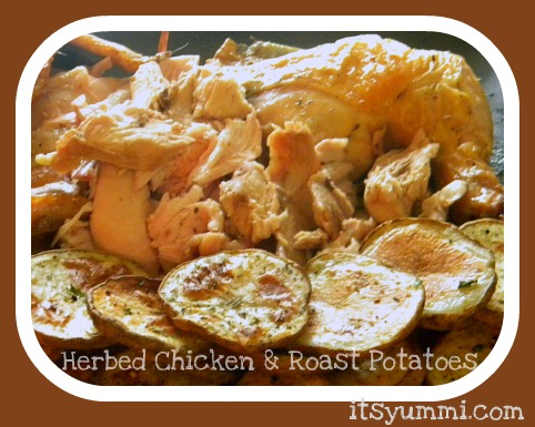 Herb Roasted Chicken with Roasted Potatoes, a comfort food dinner any night of the week!
