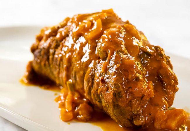 Italian beef braciole with tomato sauce