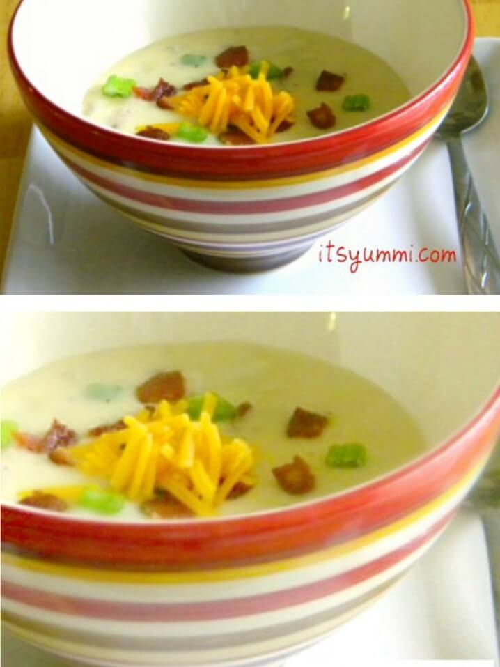 Loaded Mashed Potato Soup Recipe from @itsyummi - A great way to use up leftover baked potatoes or Thanksgiving leftovers!