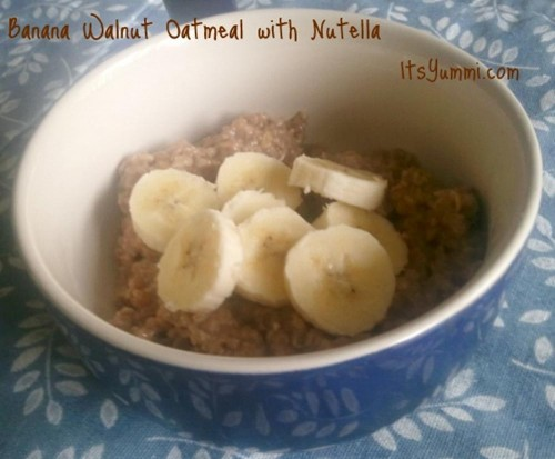 Banana Walnut Oatmeal with Nutella from ItsYummi.com #recipe