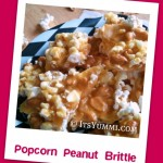 Popcorn lovers rejoice! This recipe for popcorn peanut brittle is made in 7 quick minutes, in a microwave! Makes a great homemade food gift, too.