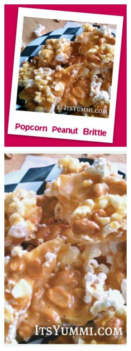 Popcorn peanut brittle is a salty-sweet treat, perfect for game day munchies, holiday food gifts, or for no special occasion at all! | Recipe on itsyummi.com