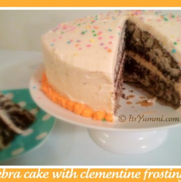 zebra cake with clementine frosting