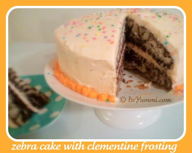 Zebra Cake with Clementine Frosting