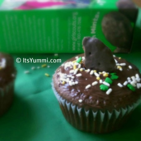 Girl Scout Thin Mint Cupcake Recipe from ItsYummi.com