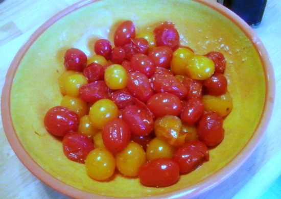 Oven roasted tomatoes that will be served with a homemade egg salad recipe that you can find on itsyummi.com
