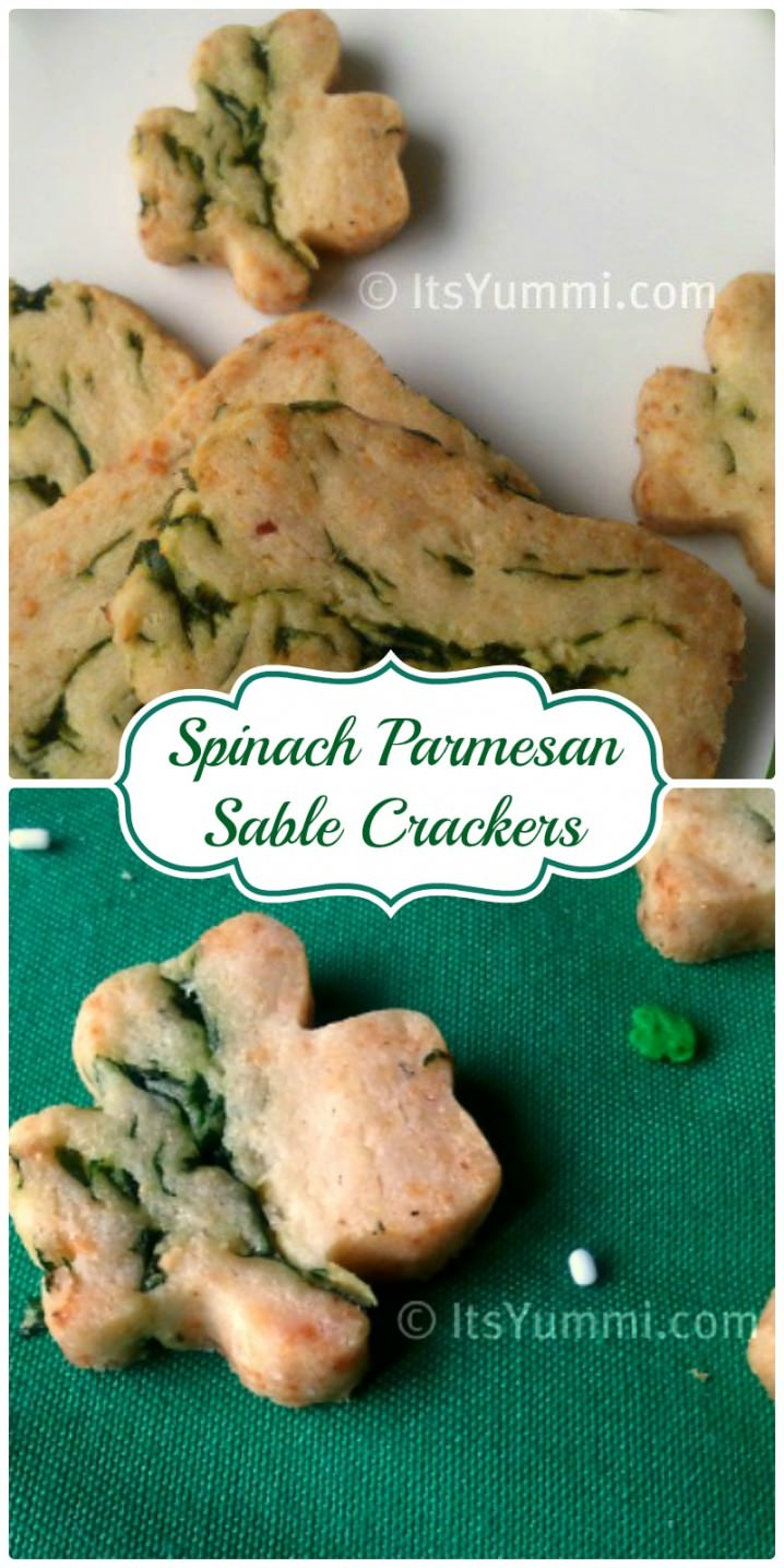 Spinach Parmesan Sables~ Get your salty snack fix without all of the fat, calories, and guilt! | ItsYummi.com | crackers | snacks | St. Patrick's Day