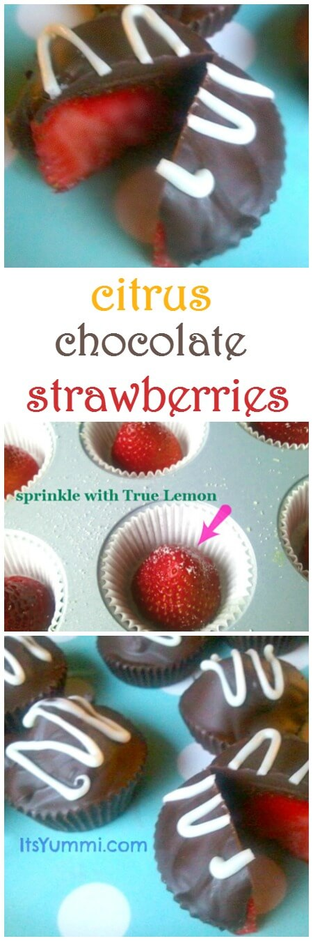 Chocolate covered strawberries, with a blast of lemony citrus flavor! These homemade candies are perfect treats for Valentine's Day, Easter, or any time you want a healthier sweet treat.   ItsYummi.com