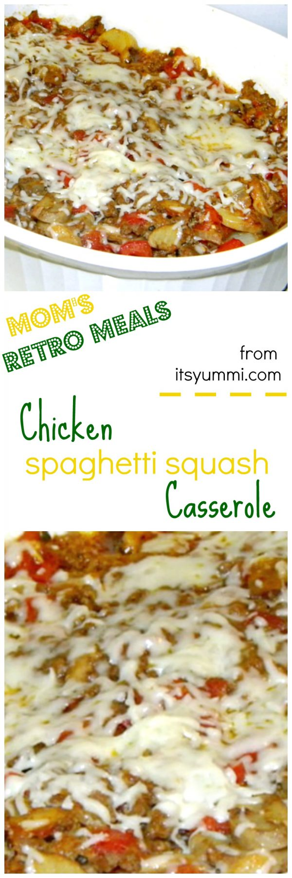 a retro meal of Spaghetti Squash Casserole with chicken