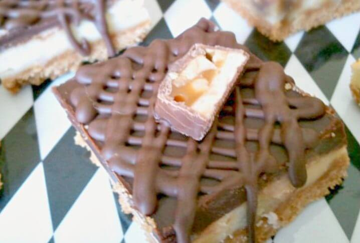 Snickers cheesecake brown butter bars