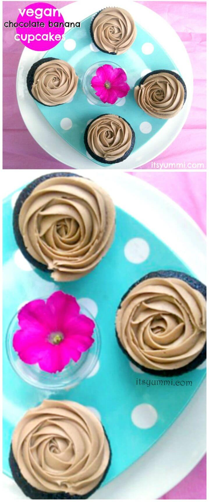 Vegan Chocolate Cupcakes - These cupcakes are made with real chocolate and no dairy products. Banana is substituted for some of the fat, so they're a bit lower in calories, too. Get the recipe from @itsyummi