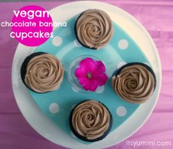 Chocolate Banana Vegan Cupcakes - These cupcakes are moist and full of chocolate flavor! Banana is used in place of some of the fat, so they're a little more guilt-free, too. Get the recipe at itsyummi.com