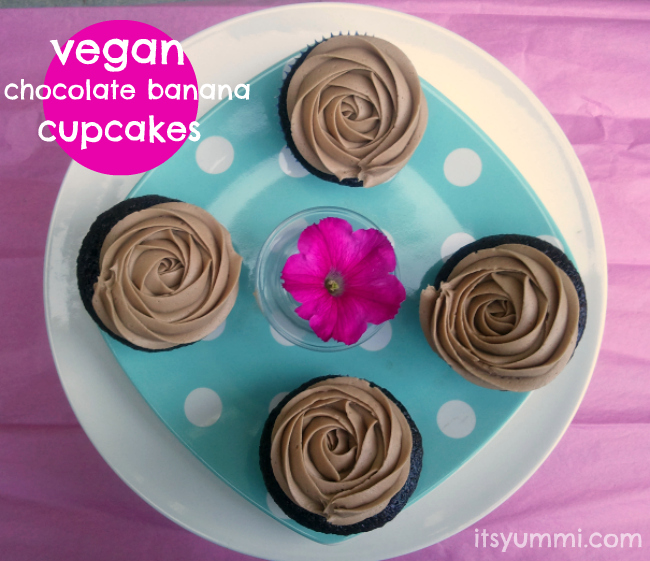 Vegan Chocolate Banana Cupcake Recipe from ItsYummi.com