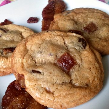 Brown Butter Candied Bacon Chocolate Chip Cookies - Get the recipe from ItsYummi.com