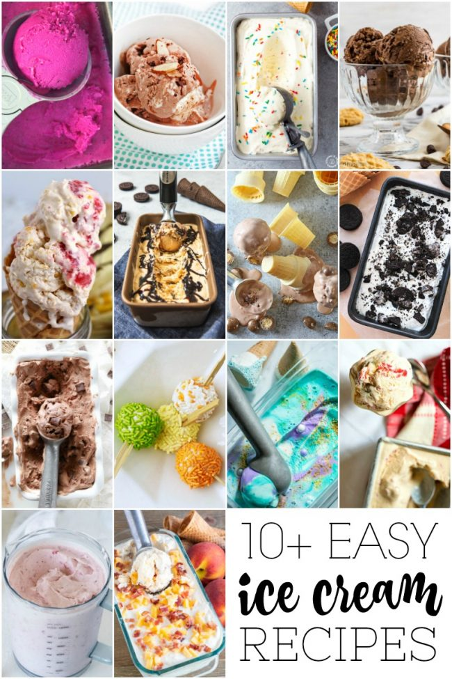 titled photo collage of homemade ice cream recipes