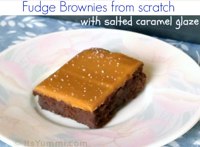 Hot Fudge Brownies made from scratch with a layer of salted caramel glaze on top