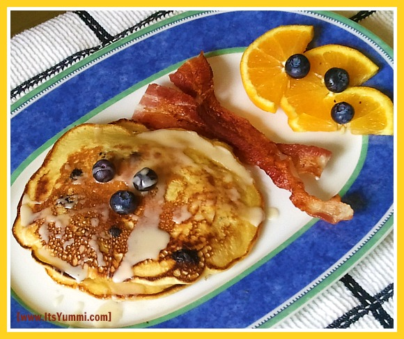 Blueberry Orange and Almond Pancakes with Maple Orange Glaze