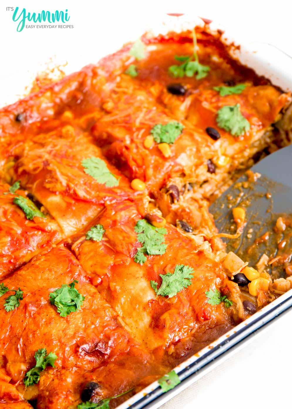 Chicken Enchilada Casserole using canned chicken