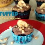 Peanut Butter Banana Stuffed Devils Food Cupcake by ItsYummi.com
