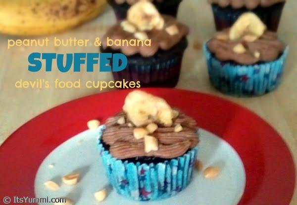 Peanut Butter Banana Stuffed Devils Food Cupcakes