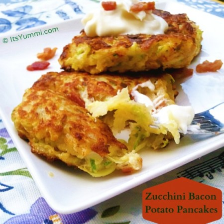 Zucchini Bacon Potato Pancakes - a great side dish for breakfast, brunch, or dinner, and a great way to get your kids to eat vegetables, too.