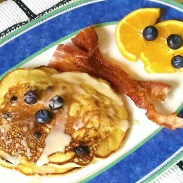Blueberry-Orange Almond Buttermilk Pancakes with Maple-Orange Glaze