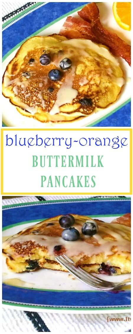 Blueberry-Orange Almond Buttermilk Pancakes are the perfect brunch recipe! | ItsYummi.com | brunch recipes | pancakes | buttermilk pancakes
