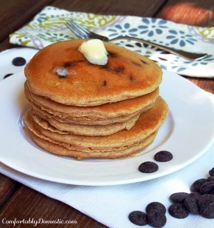 Chocolate Chip Buttermilk Pancakes - ComfortablyDomestic.com
