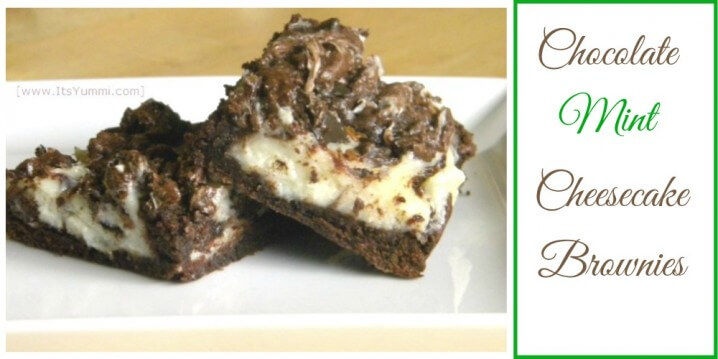 Chocolate Mint Cheesecake Brownies - This dessert recipe combines chocolate mint cookies (I used Thin Mints) with cheesecake batter. Ooey gooey goodness! Get the recipe from itsyummi.com