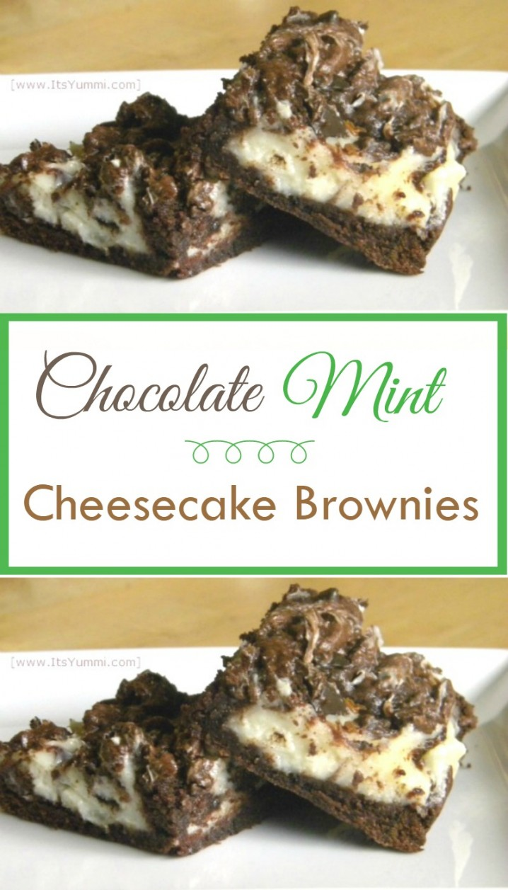 Chocolate Mint Cheesecake Brownies - This dessert recipe combines chocolate mint cookies (I used Thin Mints) with cheesecake batter. Ooey gooey goodness! Get the recipe from @itsyummi