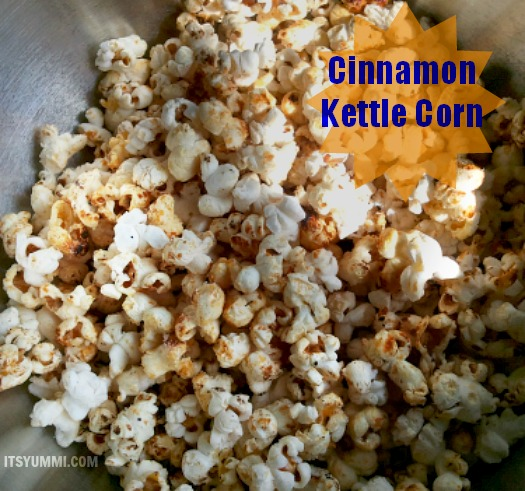 Cinnamon Kettle Corn in a stainless steel mixing bowl
