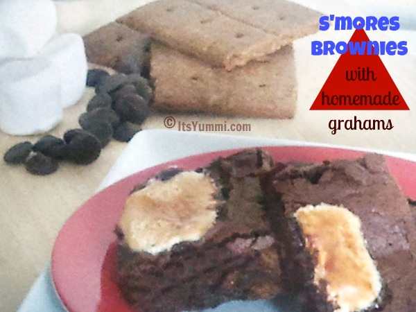 red plate of homemade s'mores brownies with ingredients to make them behind it