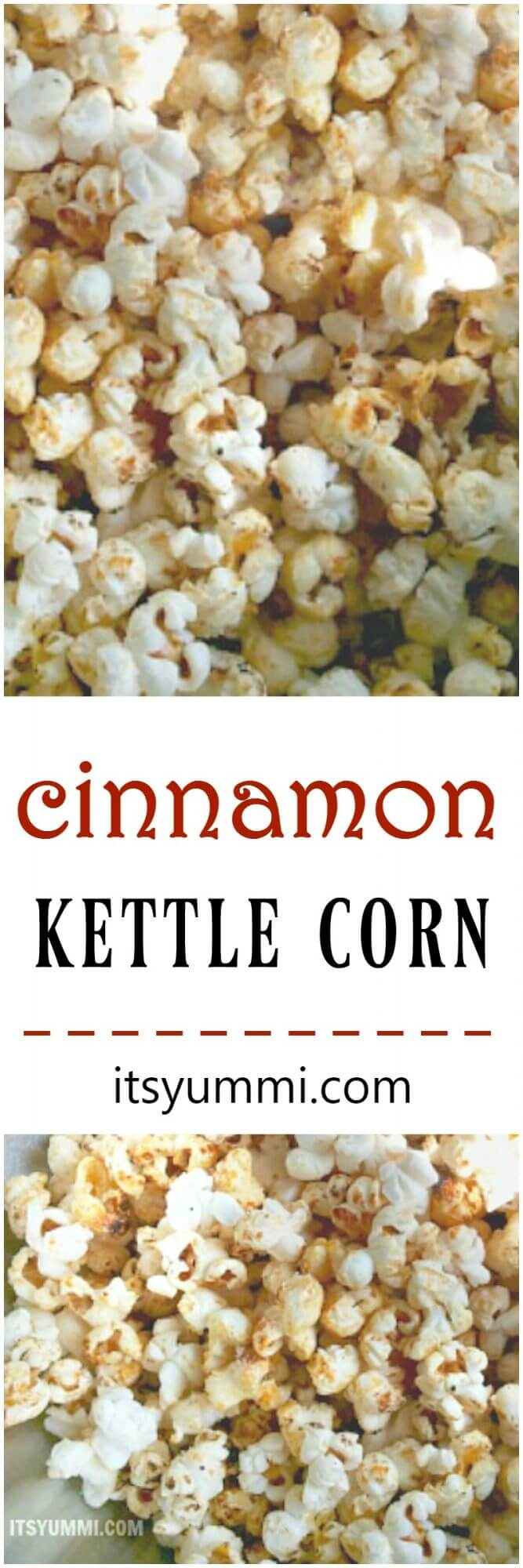 Cinnamon Kettle Corn - a sweet, salty, delicious snack recipe on itsyummi.com