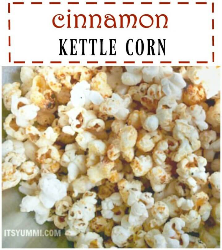 Cinnamon Kettle Corn - a sweet, salty, delicious snack recipe from itsyummi.com