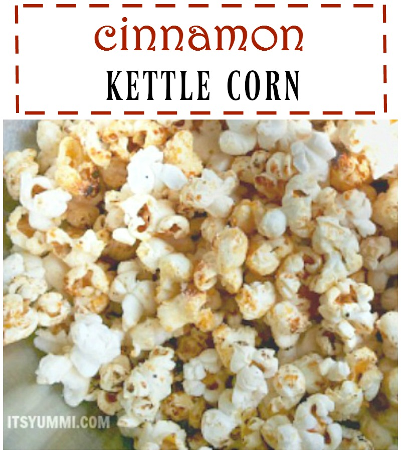 sweet kettle corn dusted with cinnamon