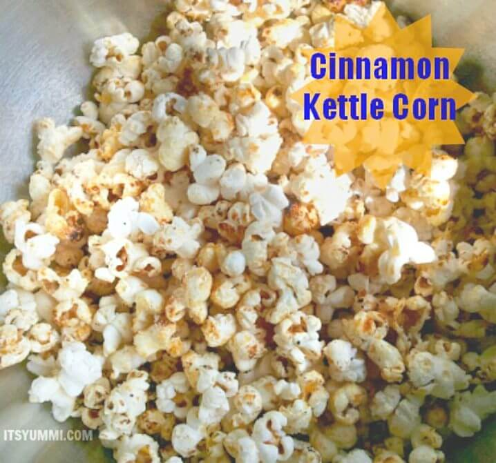 Cinnamon Kettle Corn - get the recipe for this sweet and salty popcorn snack from itsyummi.com