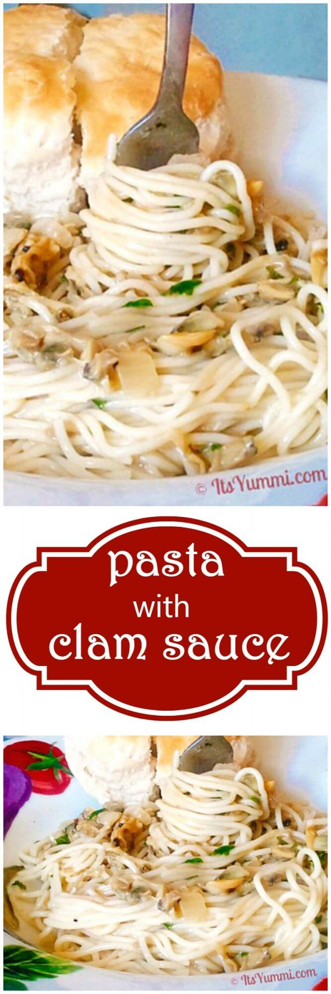 Pasta with Clam Sauce - Just 5 ingredients and 15 minutes to make this easy dinner recipe! - Recipe on itsyummi.com